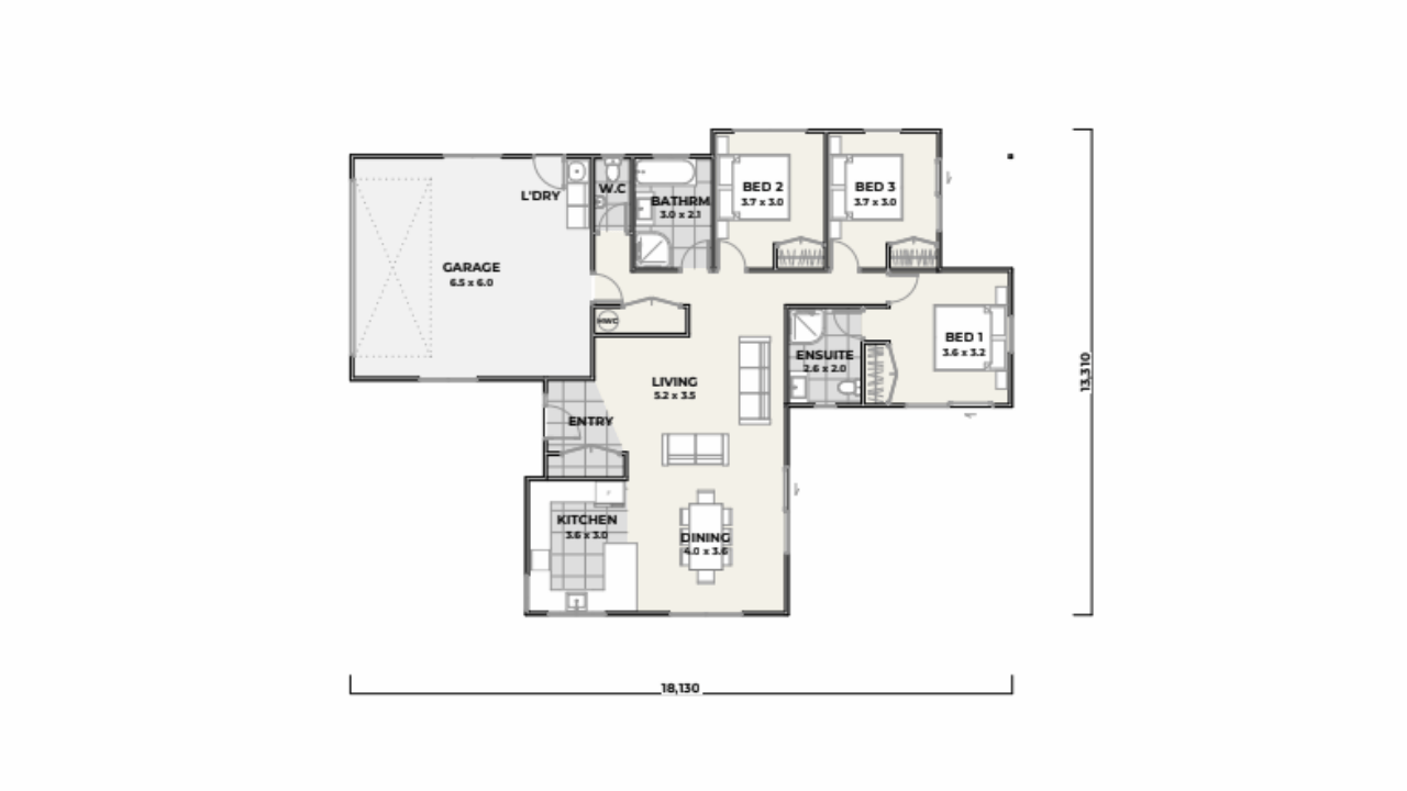 3160 - 3 bedrooms plan
